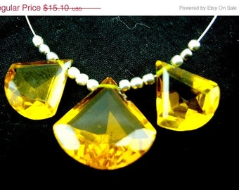 3 Piece Set Finest Citrine Quartz Faceted Fancy Briolettes Size Matched Pair 15x14mm n Focal Pendant 17x17mm Approx