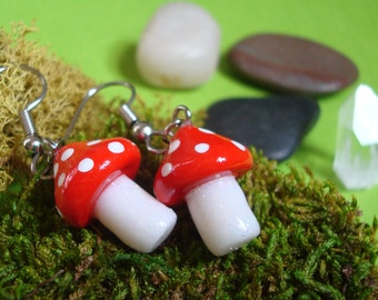 Miniature Mushroom Earrings