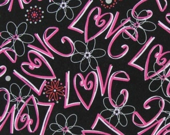 Pink Love Hearts Flowers Black Curtain Valance NEW