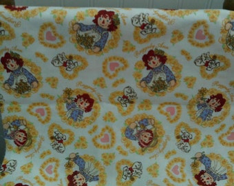 Children,s Novelty Quilt Fabric  Raggedy Ann on White