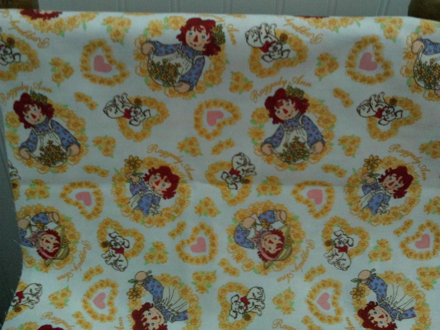 childrens novelty quilt fabric raggedy ann on white