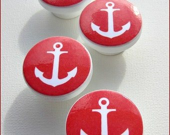 Kids Dresser Knobs - Drawer Pulls - Nautical Knobs  - Anchor - Red - Dresser drawer Knobs