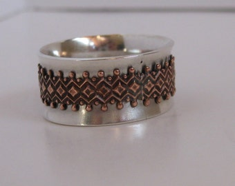 Copper and sterling silver spinner ring, fidget ring, prayer ring