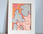Abstract Figurative Circles Face Map Orange Blue Pink with Block Print 5 x 7 Digitial Art Print