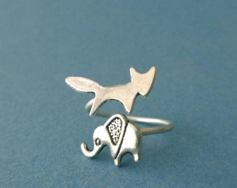 Silver elephant fox ring, wrap ring, adjustable ring, animal ring, silver ring, statement ring