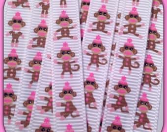 """M2M Girly Sock Monkey * Full Body* 5 yds 3/8"""" on white grosgrain ribbon TWRH"""