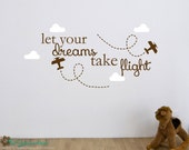 Let Your Dreams Take Flight - Typography Word Art - Vinyl Sticker - Quote Saying - Nursery or Bedroom - Wall Decals - Stickers Decals 1699
