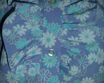 60s 70s Carol Brent 32/34 S Ruffle Blouse Violet Floral NWOT Japan Top Vintage Tuxedo Style Shirt