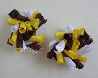 Sunflower Mini Korker Bows - Corker Curlies - No Slip Hair Clippies