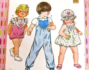 Vintage 1980s Childrens Jumpsuit Pattern with Top, Jumper, Hat, and Panties - by Ruth Scarf - Butterick 4243