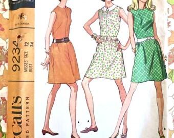 Vintage 1960s Womens A-Line Dress Pattern - McCalls 9234