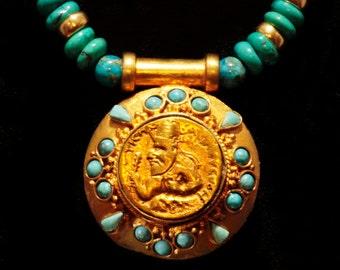 Vintage Kushan Warrior Amulet w/Turquoise
