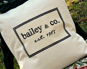 personalized pillow, cotton anniversary gift, 2nd anniversary, wedding gift idea, Newlywed gift, Grandparent gift idea, Mothers day gift