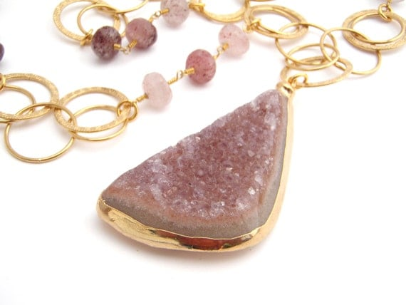 Geode Druzy Pendant On Quartz And Chain Necklace, Gold Chain, Dusty Rose, Burgundy, Chunky, 24 Inches, Long Necklace