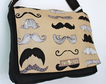 Brown Where's My 'Stache MUSTACHE MESSENGER Book Laptop iPAD Diaper BAG