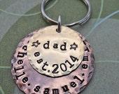Dad Keychain - Personalized Dad Daddy Papa Keychain -Fathers Day- Hand-Stamped Custom Names -  K56