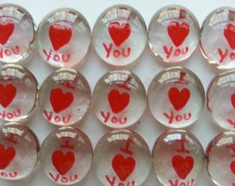 Hand painted glass gems party favors weddings valentines day I heart you  I love you in red