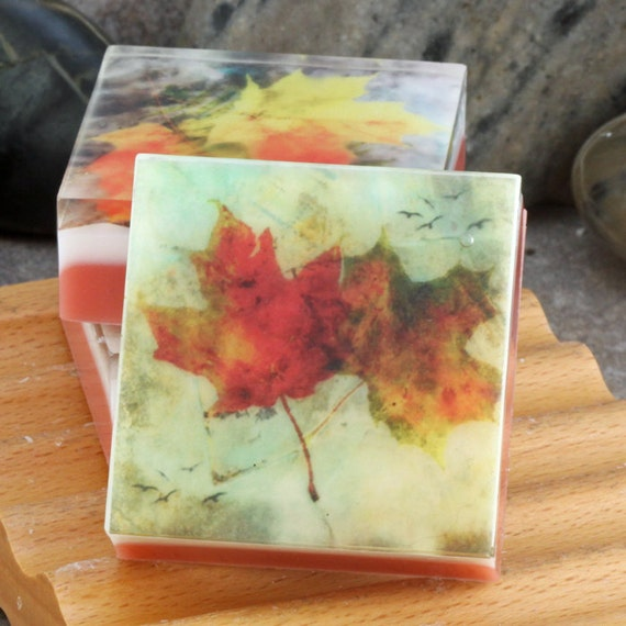 Graphic art soap fall leaves set of 3 guest size soaps in for Fall soap scents