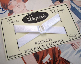 Vintage Style Reproduction French Bra Back Closure Lingerie Sewing Notion WHITE