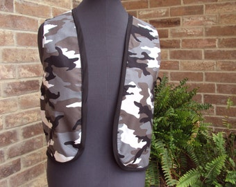 adult Camoflage vest greys and white--only one