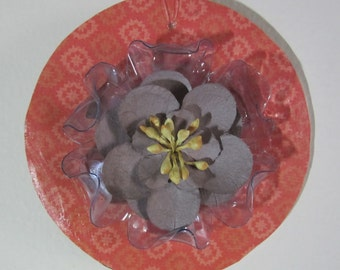 Gray Floral Ornament Mixed Media Recycled Repurposed Handmade
