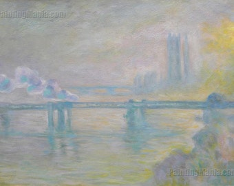 Charing Cross Bridge, Overcast Weather - Claude Monet hand-painted oil painting reproduction,violet fog,dissolving bridge and distant towers