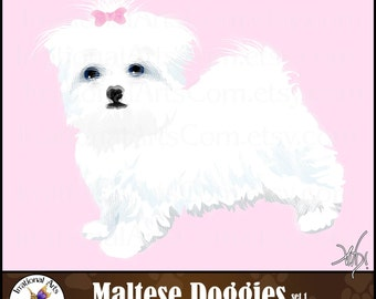 Maltese Doggie Clipart - gorgeous full color dog with bow graphic [ INSTANT DOWNLOAD ]