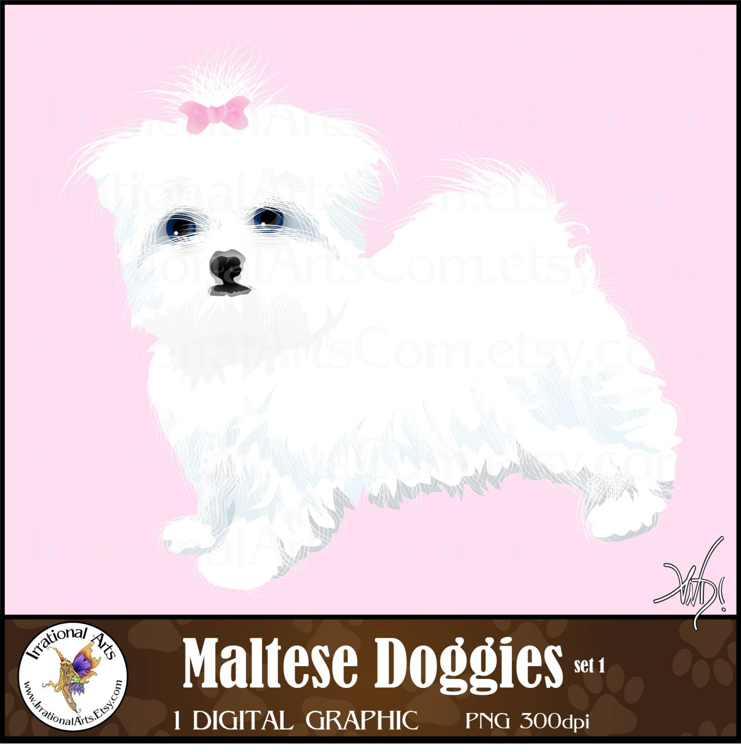 Maltese Doggie Clipart - gorgeous full color dog with bow ...