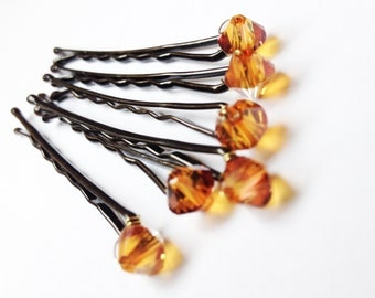 Copper Crystal Hair Pins (wedding bobby pins set of 6) Cognac Sparkle -- Wedding Hair Accessory