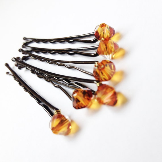 Copper Crystal Hair Pins (wedding bobby pins set of 6) Cognac Sparkle -- Wedding Hair Accessory