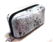 Essential Oil Case Holds 10 Bottles Essential Oil Bag Light Purple and Black Flowers on Gray