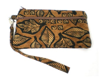 Smartphone iPhone Cell Phone Case, Double Pocket Wristlet, Detachable Strap,  Brown Leaves
