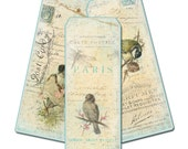 Paris Bird Bookmarks,  Set of Three,  Cottage Chic Birds, Springtime Birds, Pale Aqua, Party Favor, Bridal Shower Gift, Bridesmaid Gift