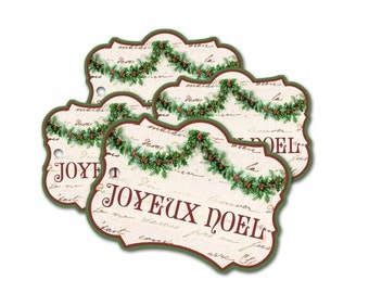 Joyeux Noel Tags, French Christmas tags, Christmas gift Tags, Holly Swag, Red and Green Extra Thick Tags