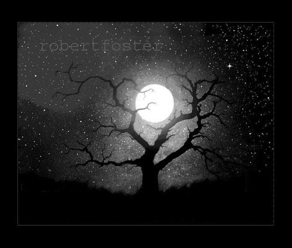 trees night moon blotch - photo #29