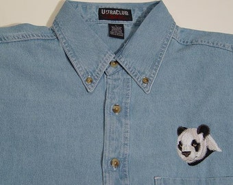 PANDA Wildlife Embroidered Small to 4XL Long Sleeve Light Blue Denim Shirt - Price Embroidery Apparel