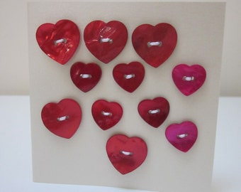 11 Mixed Red Pink Heart Shell Buttons