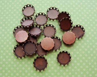 Antiqued red copper Brass lace edge  cabochon round settings, 10mm, 12 pcs SET238