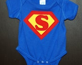 SALE Superman Applique Bodysuit with an S, in size 6 months only