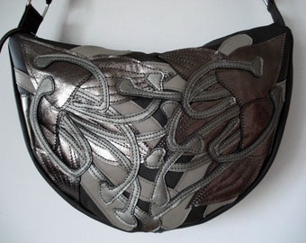 Handmade appliqued Crescent Bag in smokey grey leather