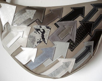 Handmade 'Directional' applique Crescent Bag in grey