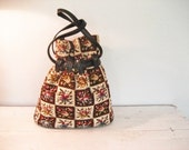Vintage Crosstitch Drawstring Bucket Style Patchwork Carpet Bag