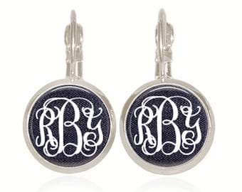 Monogram Earrings, Glass Dome, Drop Style Earrings, Dark Jeans, Personalized Gift, Gift For Her, Gift Under 10 (Denim Dark Wash)