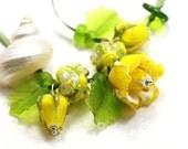 Lampwork by JOPANDA  Roses Yellow Romantic Necklace