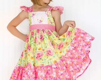 Girls Summer Pink and Yellow Sophia Dress - Size 2,3,4,5,6,7,8