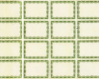 16 Olive Green Vintage Style Labels - Favorite Self Adhesive Scalloped Border Labels - Office Supplies Dennison Style Labels - Gift Tags