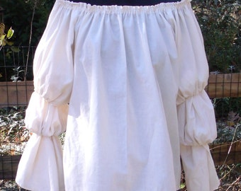 Pirate Wench Gypsy Renaissance Blouse Chemise Costume CREME