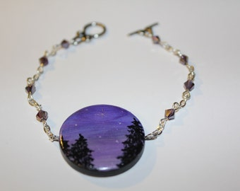 Unique Hand Painted Wooden Bead Starry Evening Silhouette Bracelet