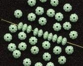 Vintage Flower Beads 6mm Mint Green Rondelle Spacers 100 Pcs.