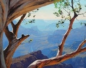 GRAND CANYON PAINTING Tree Landscape Painting Wall Decor by listed Artist G.  Gercken